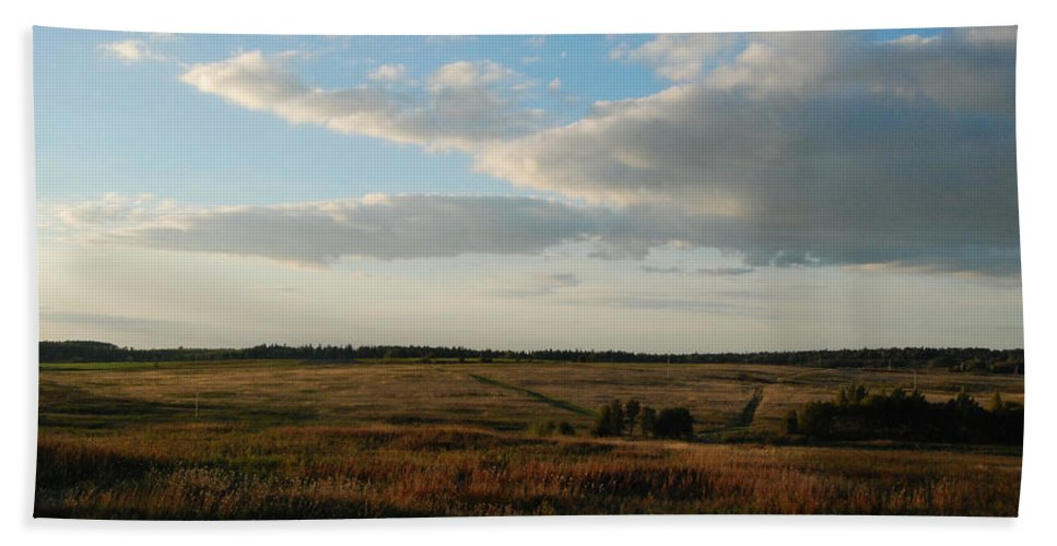 Field Beach Towel featuring the photograph Landscape Far From The City by Sergei Dolgov