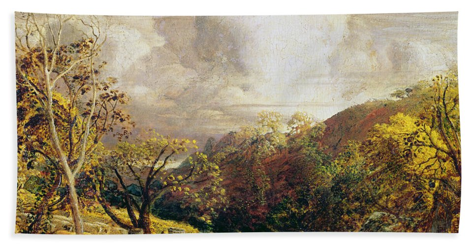 Landscape Beach Towel featuring the painting Landscape Figures And Cattle by Samuel Palmer