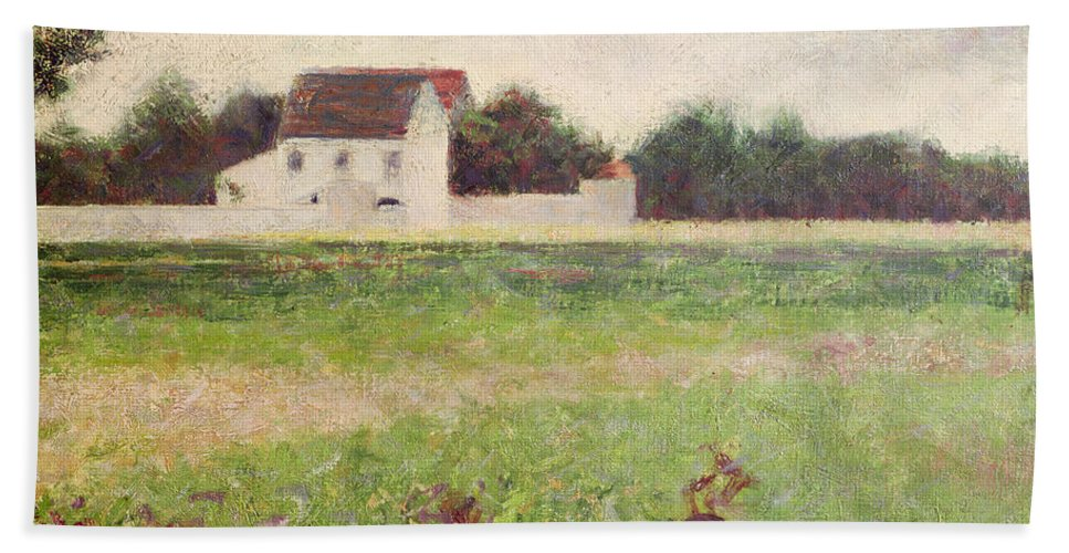 Seurat Beach Towel featuring the painting Landscape In The Ile De France by Georges Pierre Seurat