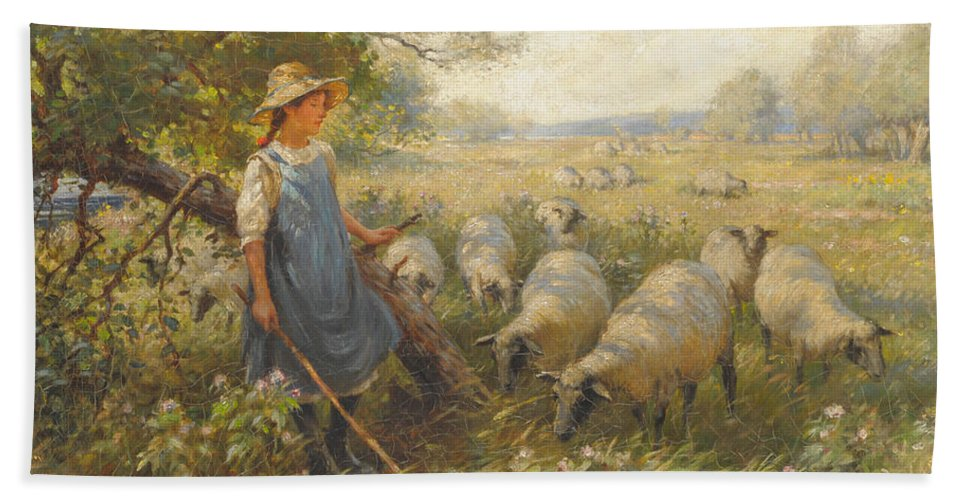 William K. Blacklock Arca (1872-1924) Landscape With A Shepherdess And Sheep In The Shade Of A Tree Beach Towel featuring the painting Landscape With A Shepherdess by William