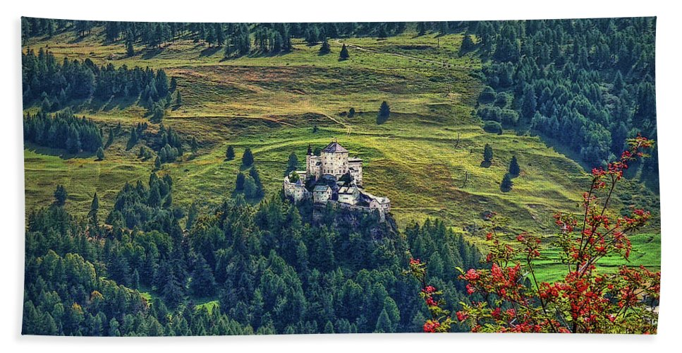 Switzerland Beach Towel featuring the photograph Landscape With Castle by Hanny Heim
