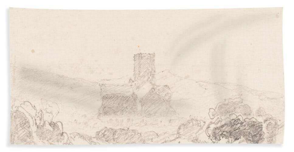 Beach Towel featuring the drawing Landscape With Church by Follower Of John Sell Cotman