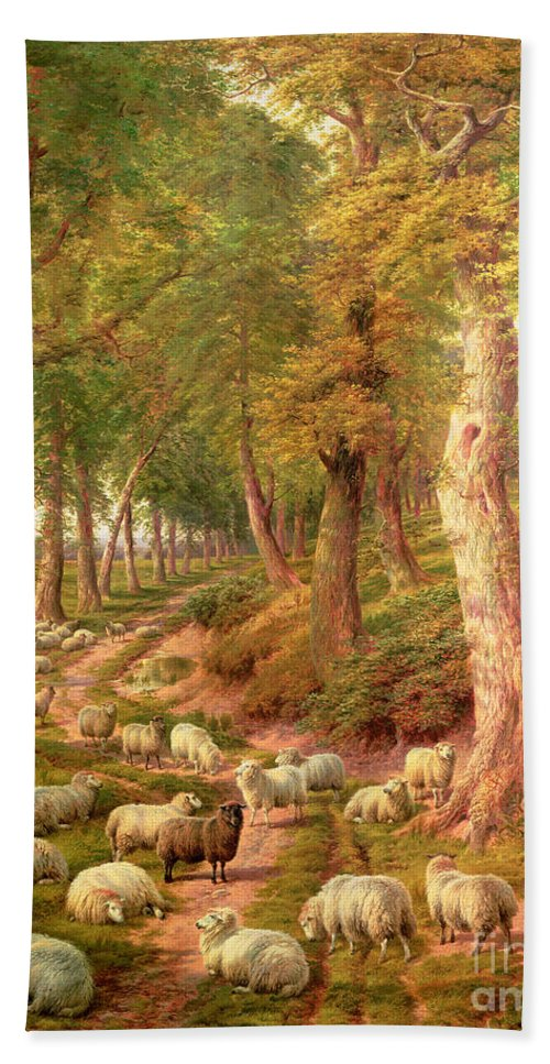 Landscapes Beach Towel featuring the painting Landscape With Sheep by Charles Joseph