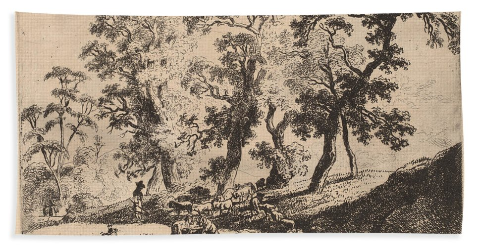 Beach Towel featuring the drawing Landscape With Shepherds by Friedrich M?ller