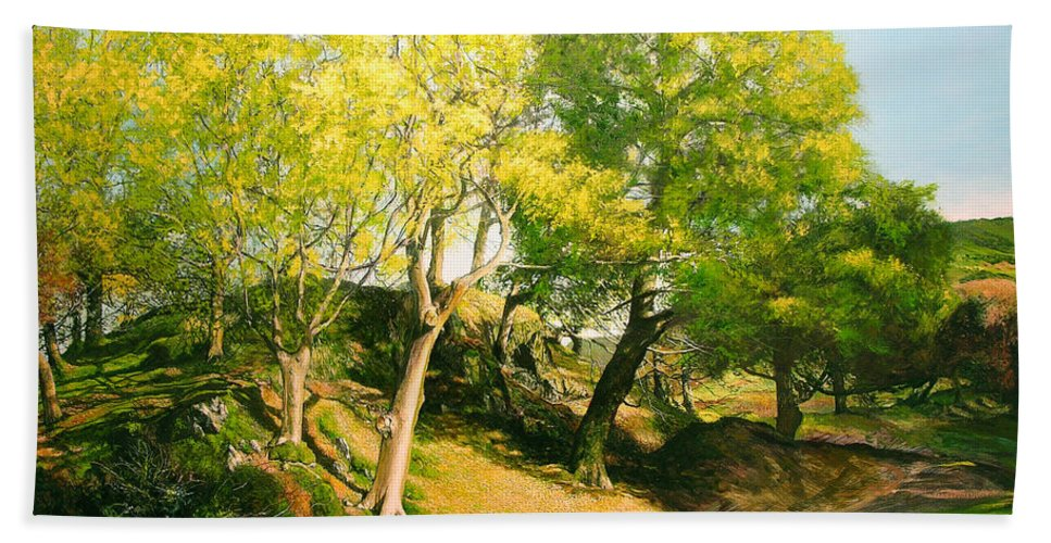 Landscape Beach Towel featuring the painting Landscape With Trees In Wales by Harry Robertson