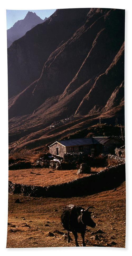 Langtang Beach Towel featuring the photograph Langtang Village by Patrick Klauss