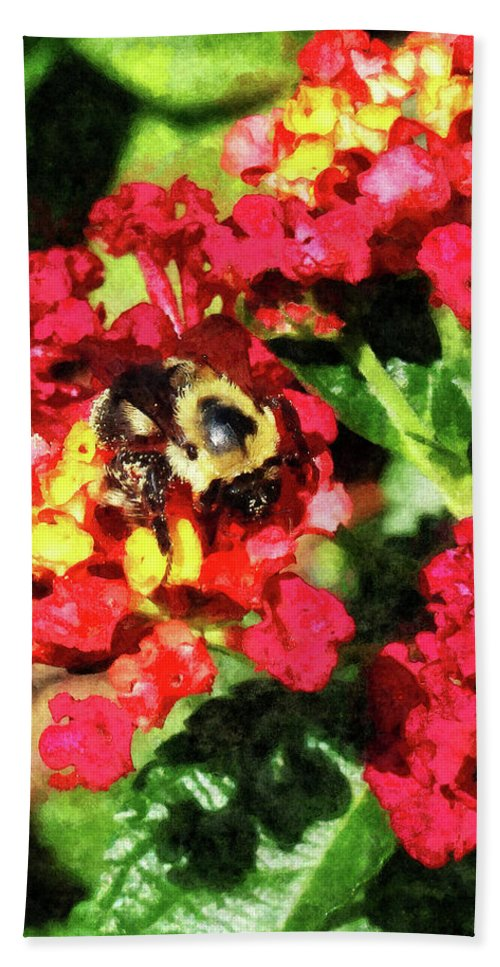 Bee Beach Towel featuring the photograph Lantanas And The Bee by Susan Savad