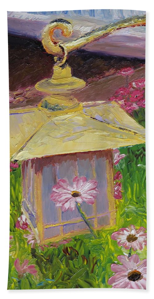 Flower Beach Towel featuring the painting Lantern And Friends by Lea Novak