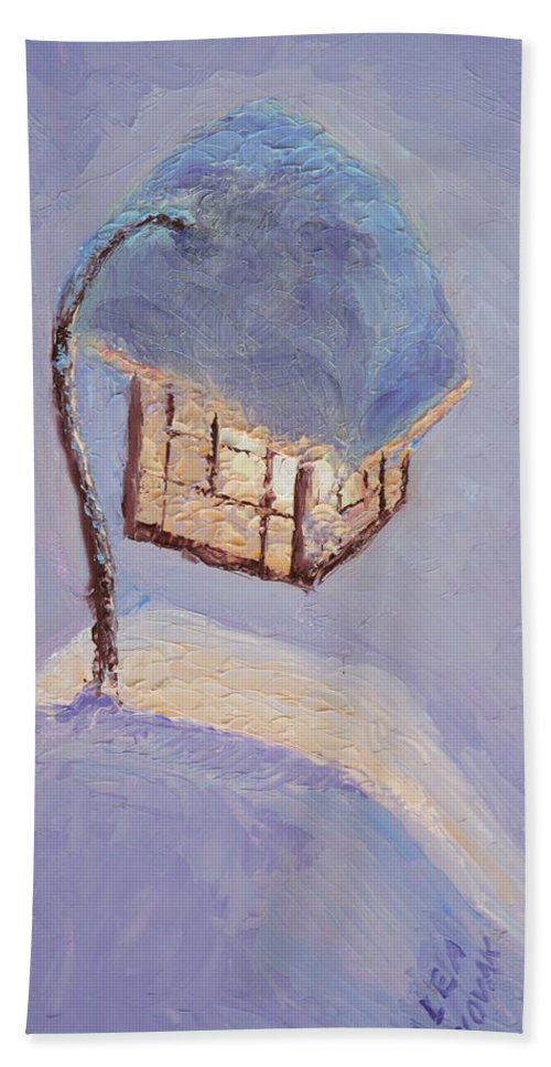 Lantern Beach Towel featuring the painting Lantern Light On A Snowy Evening by Lea Novak
