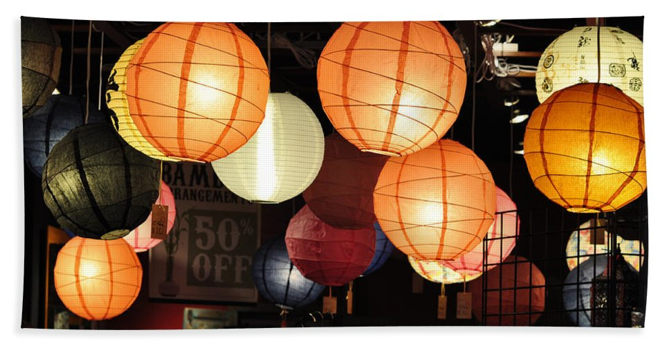 Lanterns Beach Towel featuring the photograph Lanterns 50 Percent Off by Jan Amiss Photography
