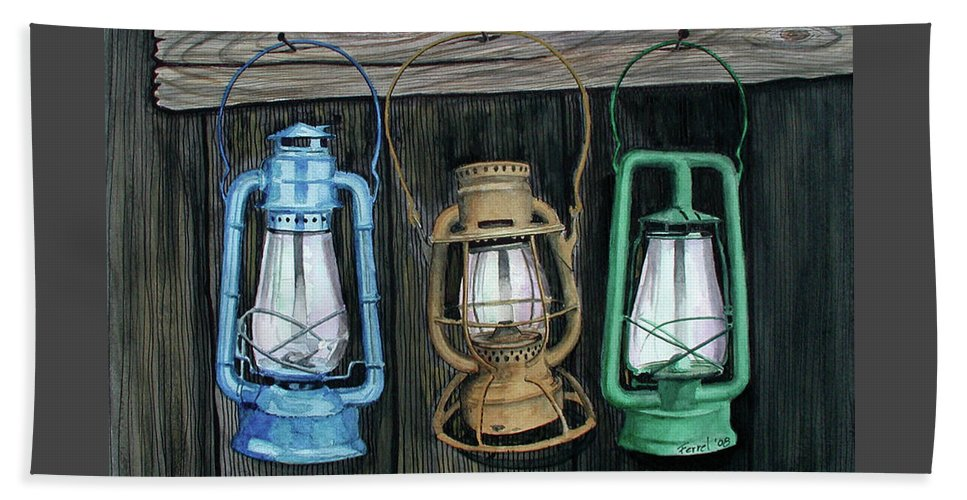 Lanterns Beach Towel featuring the painting Lanterns by Ferrel Cordle