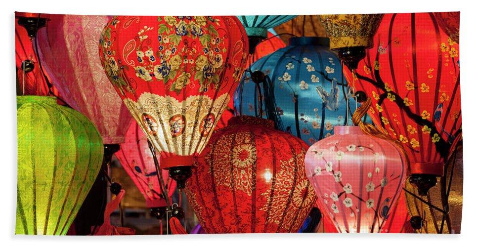 Hoi An Beach Towel featuring the photograph Lanterns by Timm Chapman