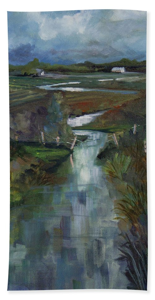 River Beach Towel featuring the painting Laramie River Valley by Heather Coen