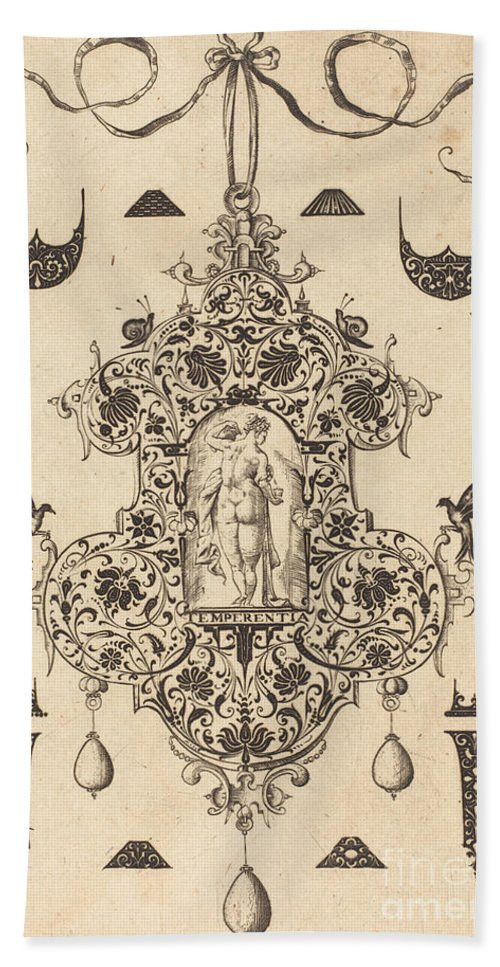 Beach Towel featuring the drawing Large Pendant, Temperance Standing At Centre by Daniel Mignot