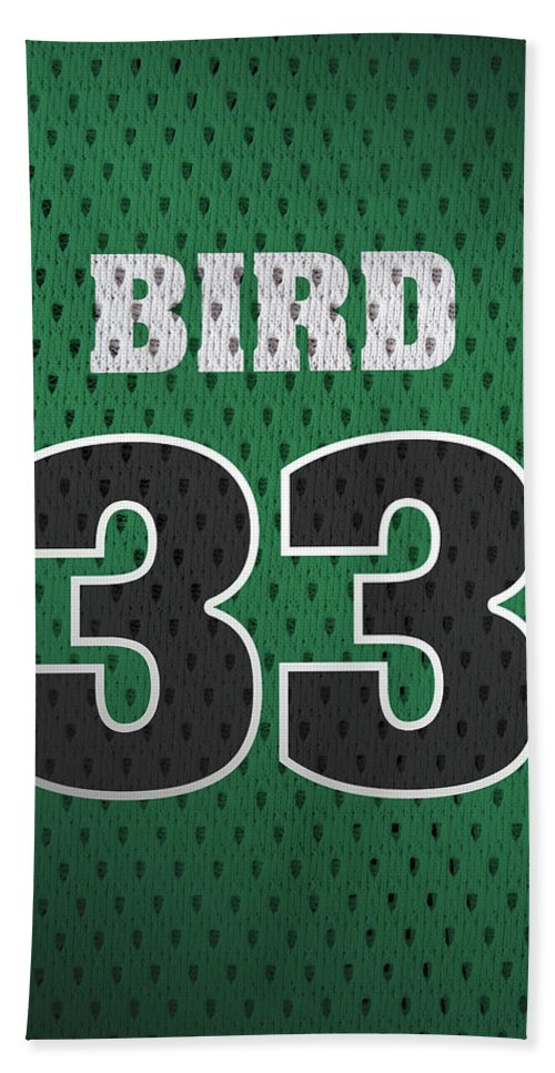 Larry Bird Beach Towel featuring the mixed media Larry Bird Boston Celtics Retro Vintage Jersey Closeup Graphic Design by Design Turnpike