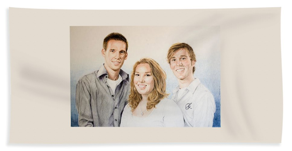 Portrait Beach Towel featuring the drawing Lars Niels And Ilse by Rob De Vries