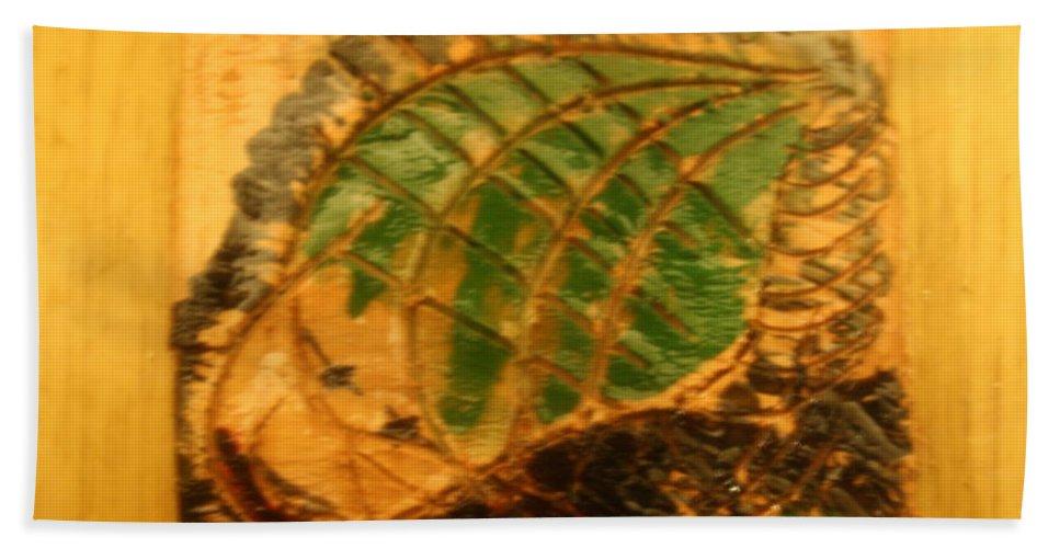 Jesus Beach Towel featuring the ceramic art Last Bus - Tile by Gloria Ssali