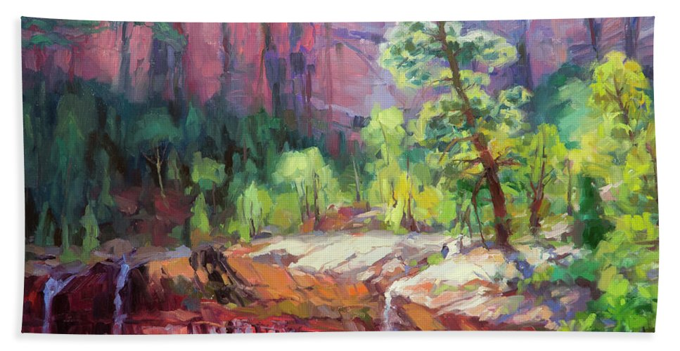 Zion Beach Towel featuring the painting Last Light In Zion by Steve Henderson