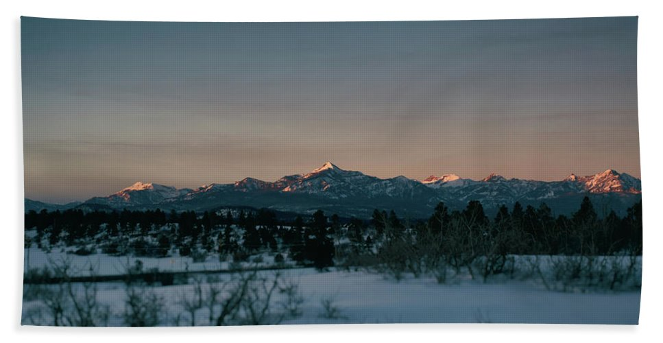 Landscape Beach Towel featuring the photograph Last Light On Pagosa Peak by Jason Coward