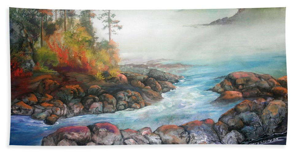 Seascape Beach Towel featuring the painting Last Light by Sherry Shipley