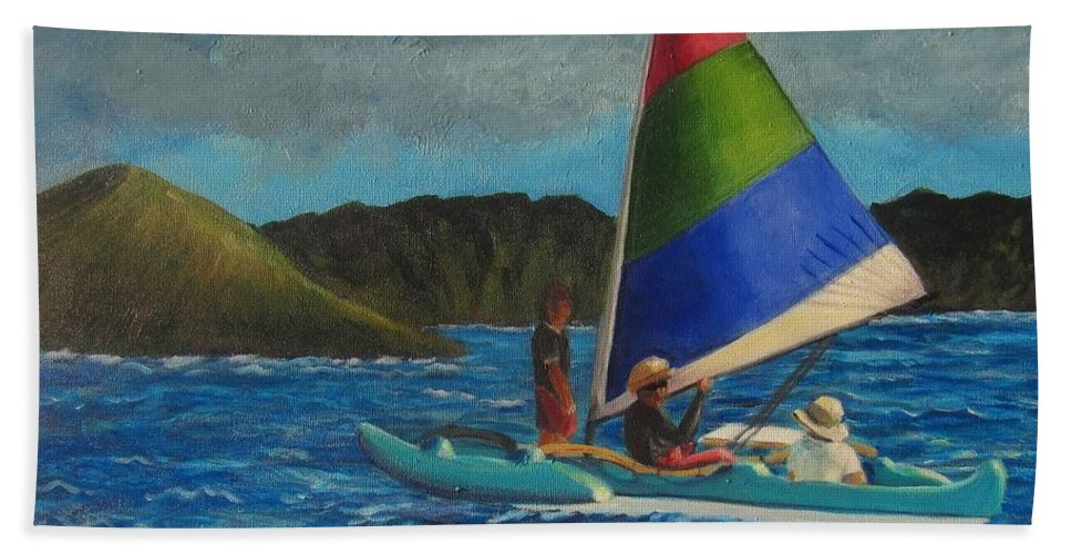 Sailboats Beach Towel featuring the painting Last Sail Before The Storm by Laurie Morgan