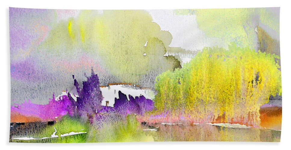 Watercolour Beach Towel featuring the painting Late Afternoon 02 by Miki De Goodaboom