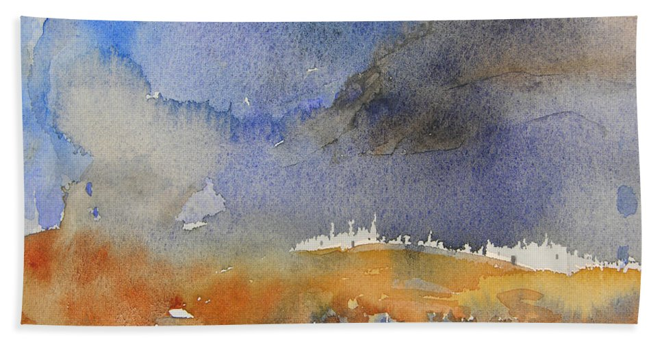 Watercolour Beach Towel featuring the painting Late Afternoon 10 by Miki De Goodaboom
