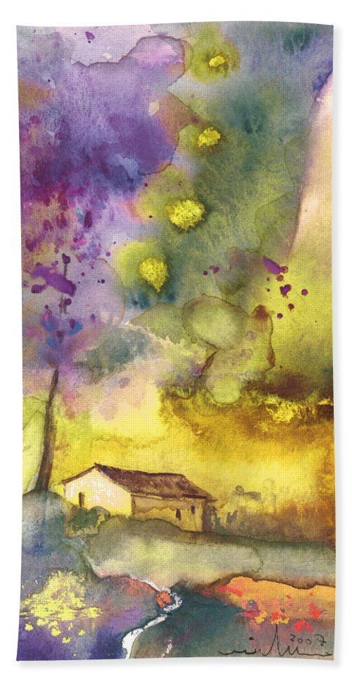 Watercolour Beach Towel featuring the painting Late Afternoon 13 by Miki De Goodaboom