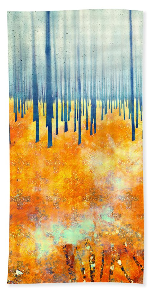 Abstract Color Autumn Trees Forest Textures Landscape Beach Towel featuring the digital art Late Autumn by Katherine Smit