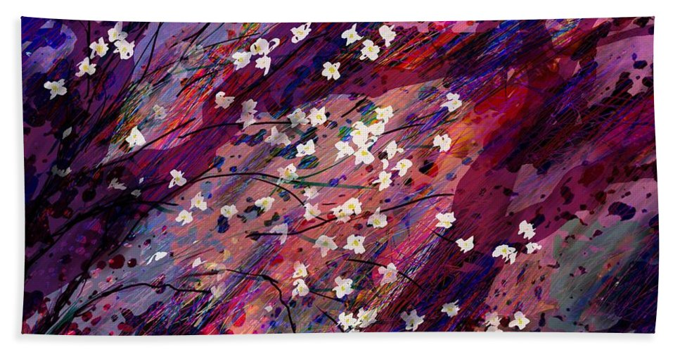 Abstract Beach Towel featuring the digital art Late Bloomers by Rachel Christine Nowicki