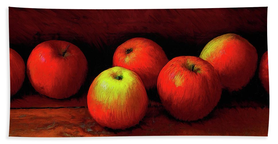 Apples Beach Towel featuring the painting Late Harvest by Dominic Piperata