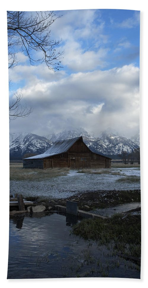 Late Snow Beach Towel featuring the photograph Late Snow On South Moulton Barn by Gary Langley
