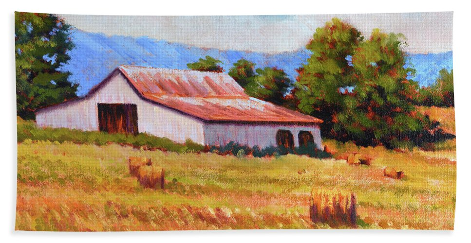 Impressionism Beach Towel featuring the painting Late Summer Hay by Keith Burgess