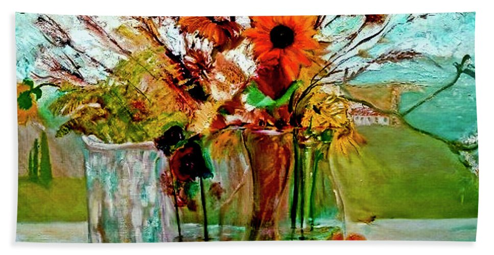 Flowers Jar Glass Thistle Picnic Green Lemon Rose Beach Towel featuring the painting Late Summer by Jack Diamond