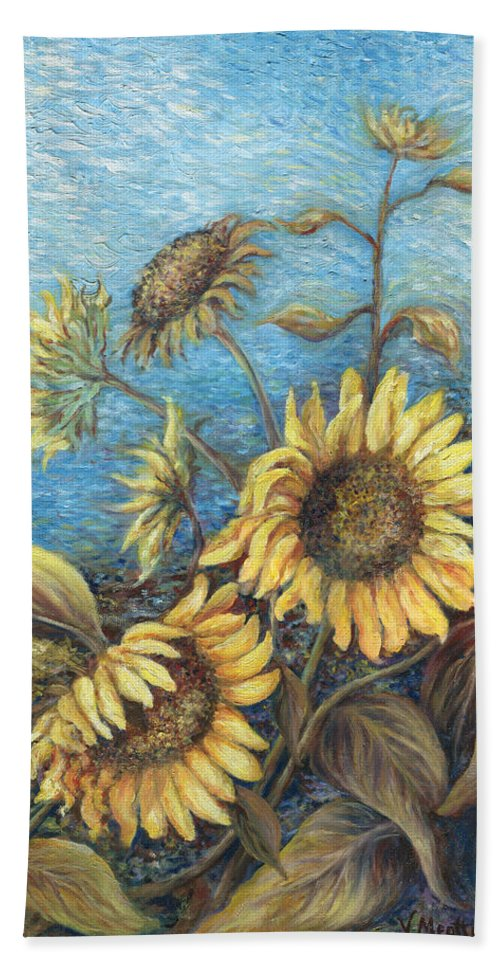 Sunflowers Beach Towel featuring the painting Late Sunflowers by Valerie Meotti