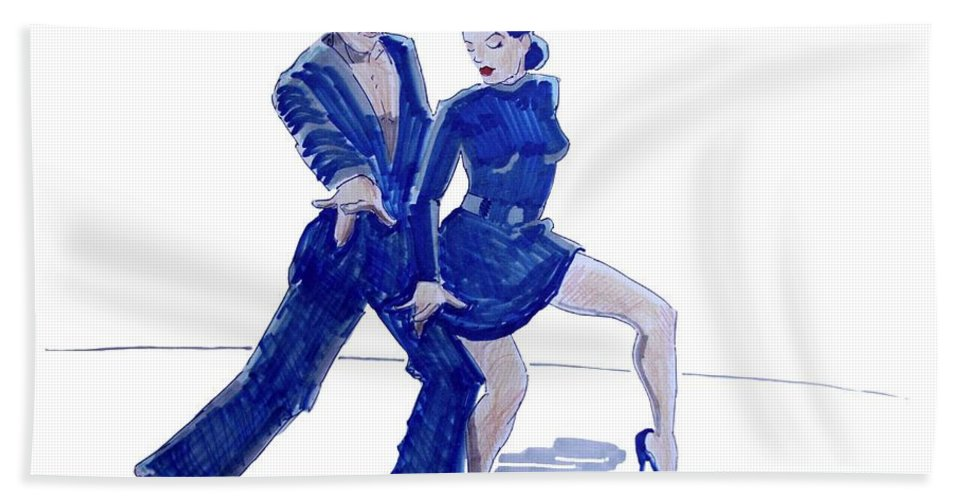 Latin Beach Towel featuring the drawing Latin Ballroom by Mike Jory