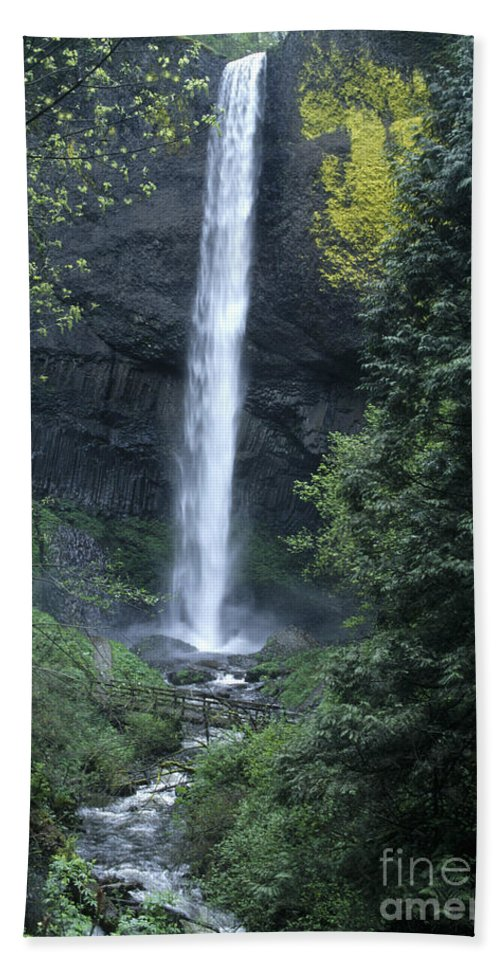 Waterfalls Beach Towel featuring the photograph Latourelle Falls-columbia River Gorge by Sandra Bronstein