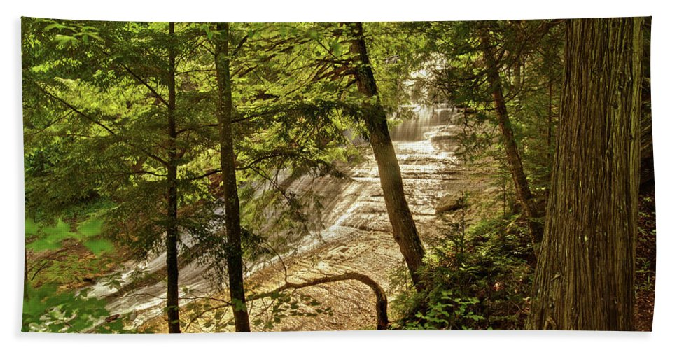 Laughing Whitefish Beach Towel featuring the photograph Laughing Whitefish Falls 2 by Michael Peychich
