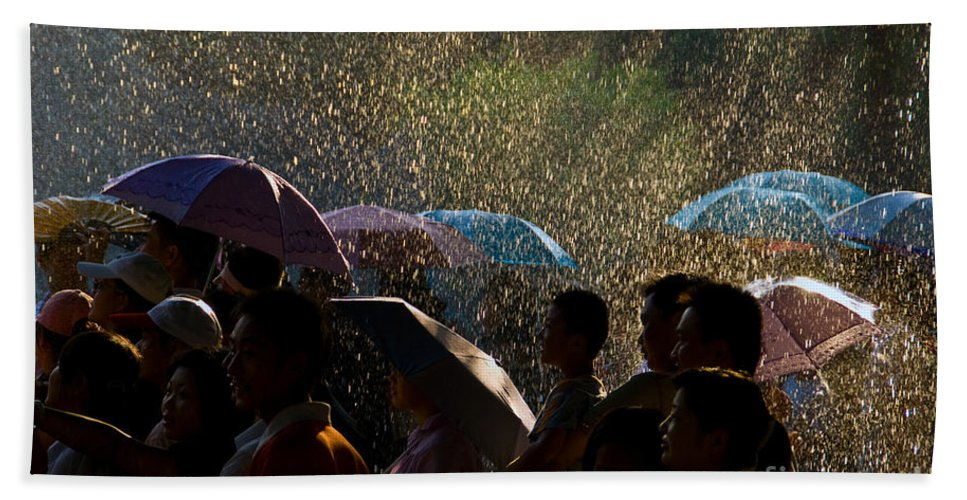 Rain Beach Towel featuring the photograph Laughter In The Rain by Venetta Archer