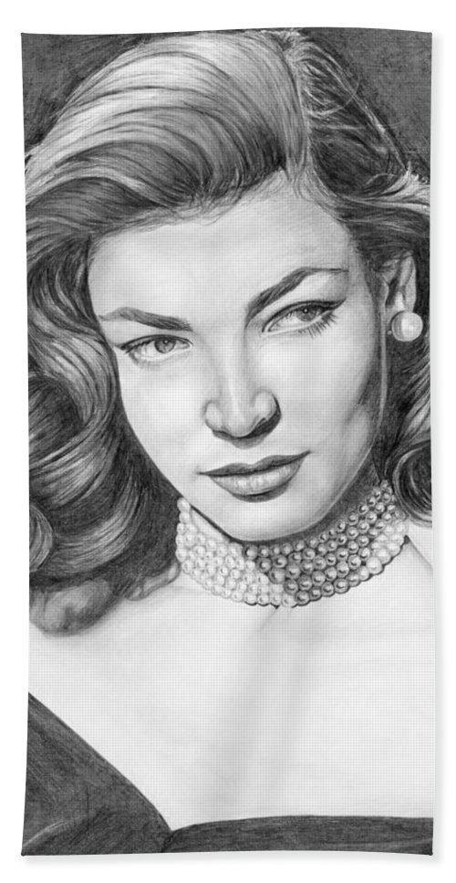 Actress Beach Towel featuring the drawing Lauren Bacall by Rob De Vries