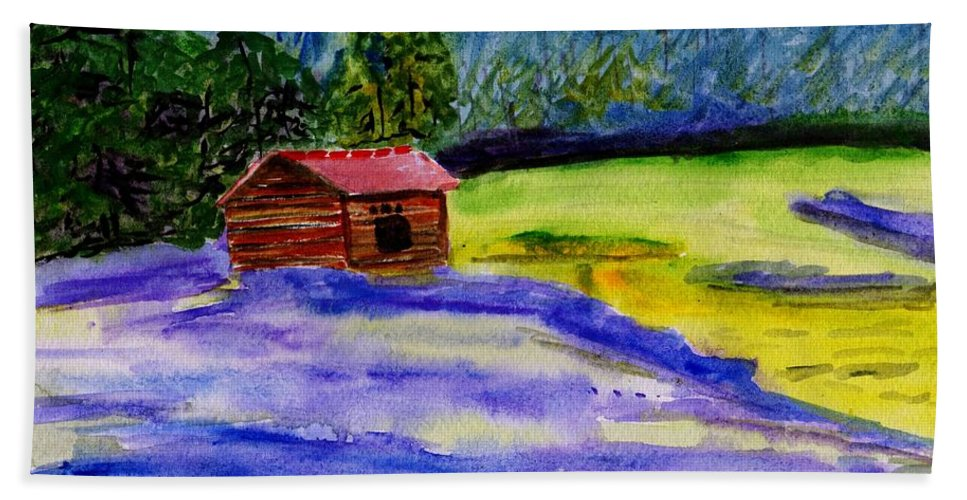 Spring Beach Towel featuring the painting Lavender Barn by Sweeping Girl