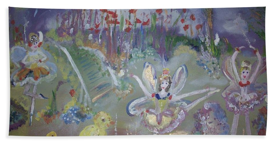 Lavender Beach Towel featuring the painting Lavender Fairies by Judith Desrosiers