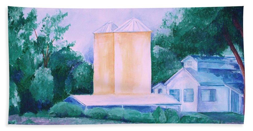 Western Beach Towel featuring the painting Lavender Farm Albuquerque by Eric Schiabor