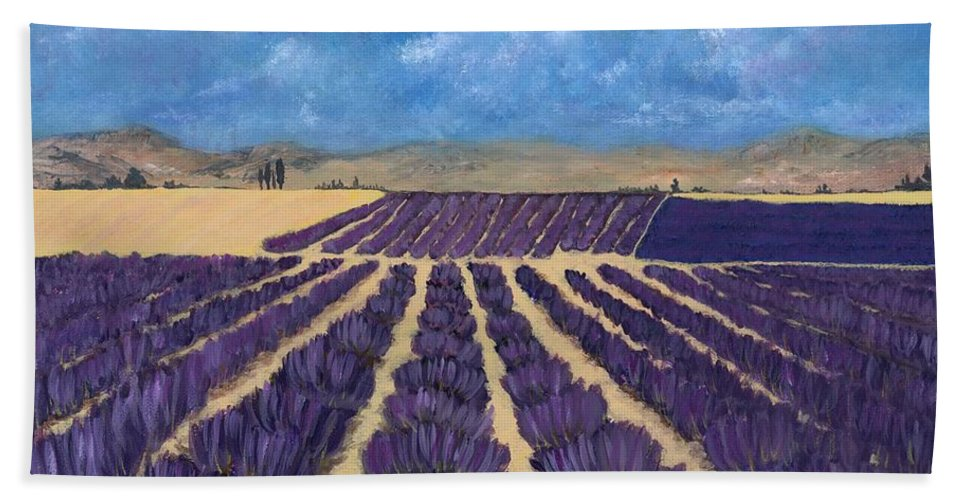 Lavender Beach Towel featuring the painting Lavender Field by Anastasiya Malakhova