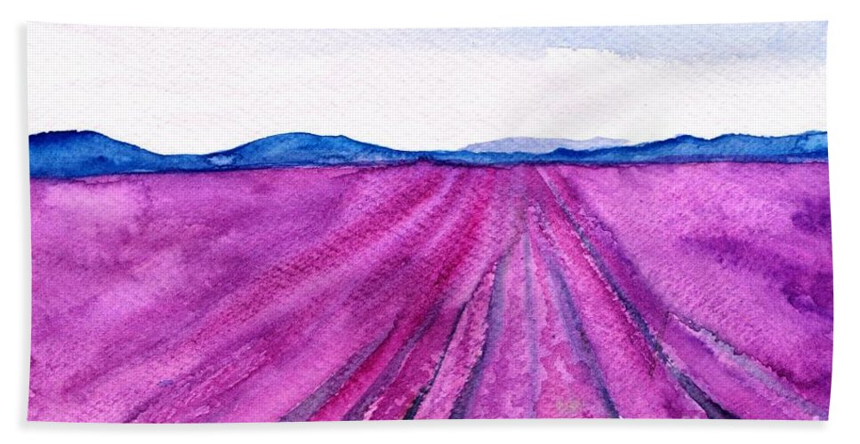 Lavender Field Beach Towel featuring the painting Lavender by Sweeping Girl