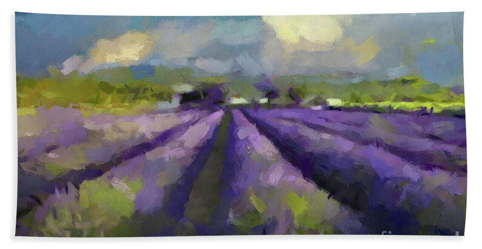 Landscapes Rural Scenes Beach Towel featuring the painting Lavenders Of South by Dragica Micki Fortuna