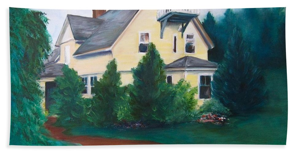 Landscape Beach Towel featuring the painting Lavern's Bed And Breakfast by Jennifer Christenson