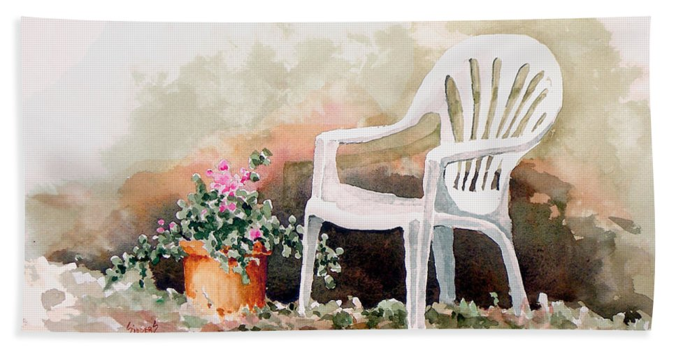 Chair Beach Towel featuring the painting Lawn Chair With Flowers by Sam Sidders