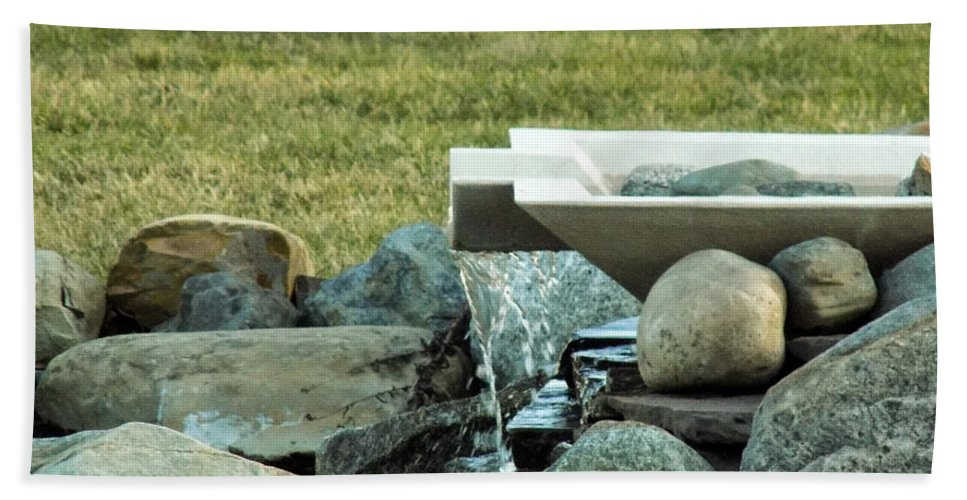 Water Feature Beach Towel featuring the photograph Lawn Water Feature by William Tasker