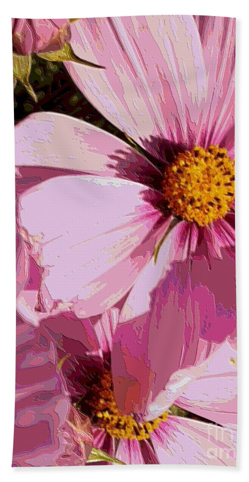 Pink Beach Towel featuring the photograph Layers Of Pink Cosmos - Digital Art by Carol Groenen
